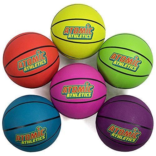 Atomic Athletics 6 Pack of Neon Rubber Playground Basketballs - Youth Size 5, 8.5'' Balls with Air Pump and Mesh Storage Bag by K-Roo Sports by K-Roo Sports