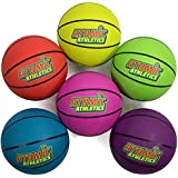 "Atomic Athletics 6 Pack of Neon Rubber Playground Basketballs - Youth Size 5, 8.5"" Balls with Air Pump and Mesh Storage Bag by K-Roo Sports"