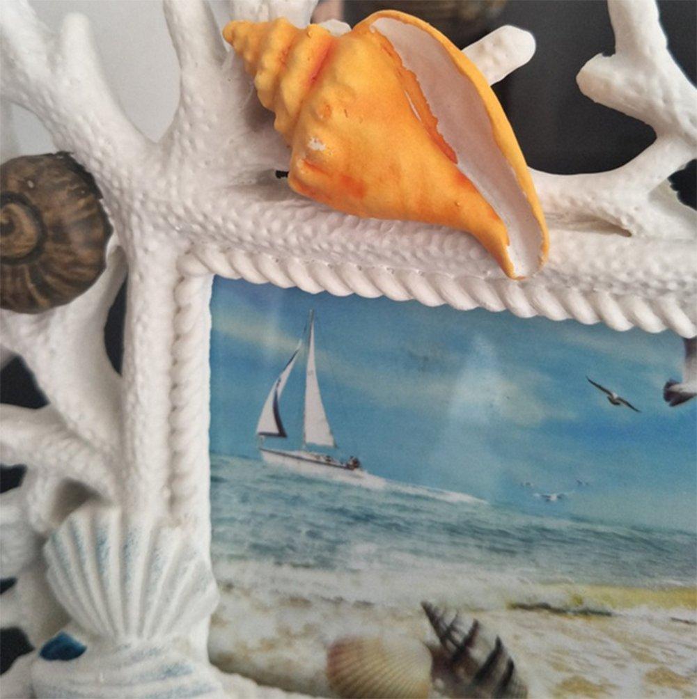 weiwei Marco De Fotos De Resina Estilo Mediterráneo, Portaretrato Antiguo Creativo Adornos De Escritorio Artesanal 6 Pulgadas Marco De Fotos De Ocean Coral: ...
