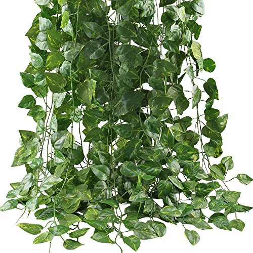 Jungle Silk Plants (GTIDEA Fake Vines, 12 Pack 84 Feet Artificial Hanging Plants Silk Green Leaf Garlands Home Office Garden Outdoor Wall Greenery Cover Jungle Party Decoration)