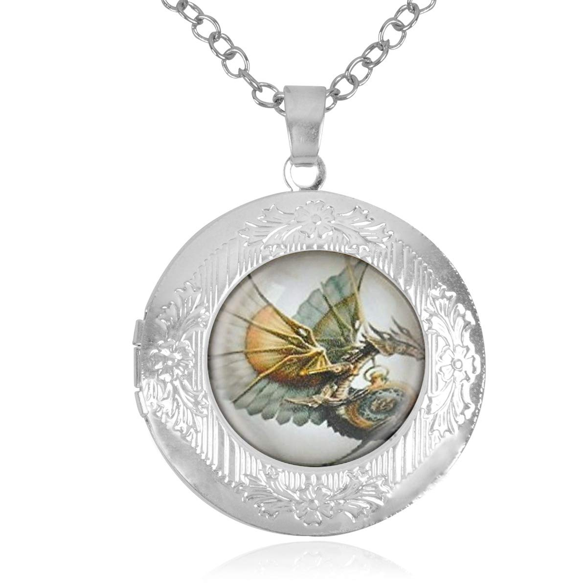 Best Gift Set Womens Custom Locket Closure Pendant Necklace Steampunk Dragon Included Free Silver Chain