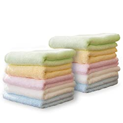YOOFOSS Luxury Bamboo Washcloth Towel Set 10 Pack for Bathroom-Hotel-Spa-Kitchen Multi-Purpose Fingertip Towels & Face Cloths 10'' x 10'