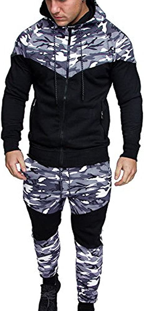 Rosennie Fashion Mens Tracksuit,Men Autumn Winter Casual Hooded Warm Long Sleeve Padded Velvet Outwear Sport Loose Pocket Slim Camouflage Sweatshirt Top Pants Sets Sports Suit