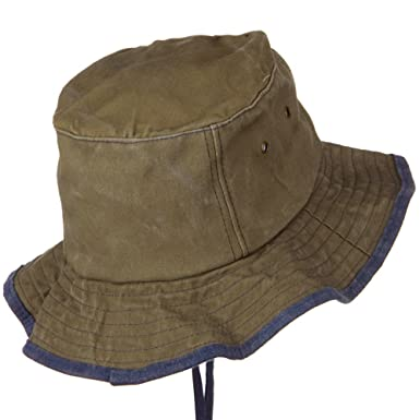 38a1604b84cba Jacobson Hat Company Garment Washed Cotton Hat with Chin Cord - Khaki OSFM