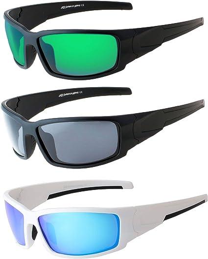 Men Half Rim Sports Polarized Sunglasses Blue Mirror Lens Anti-Glare Motor-cycle
