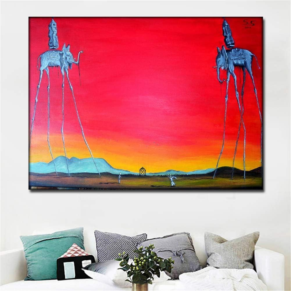 nr Salvador Dali Elefant Lange Beine Gem/älde Roten Hintergrund Leinwand Gedruckt Wandkunst Drucke Poster F/ür Wohnzimmer Wohnkultur-50x70 cm rahmenlose