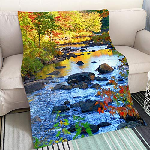 Customized Comfortable 100% Soft Premium Blanket New Hampshire Forest River in Autumn Perfect for Couch Sofa or Bed Cool Quilt