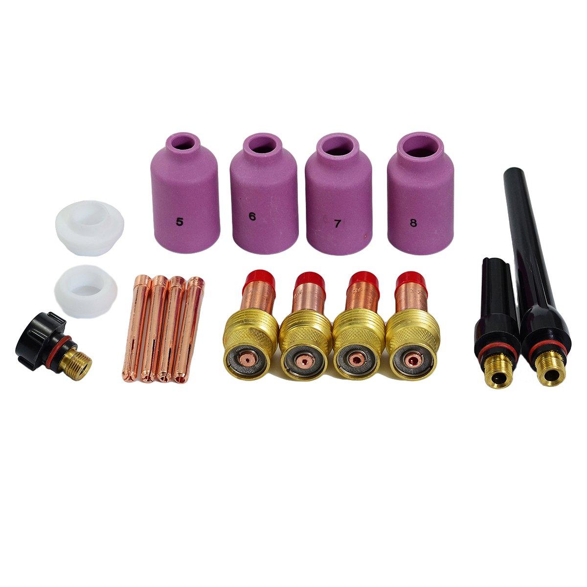TIG Gas Lens Nozzle Collet Body Back Cap Kit Fit SR WP17 18 26 TIG Welding Torch Accessories Consumables 17pcs