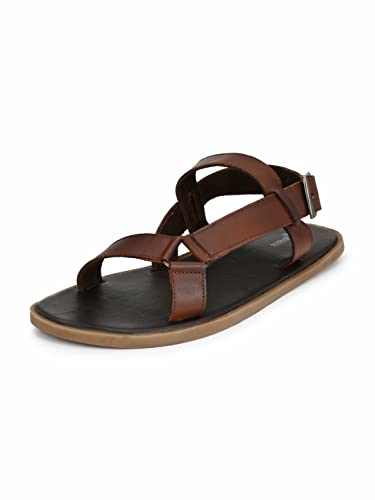 b3a50c3e238 Guava Men Anti-Sweat Leather Tan Sandals  Buy Online at Low Prices in India  - Amazon.in