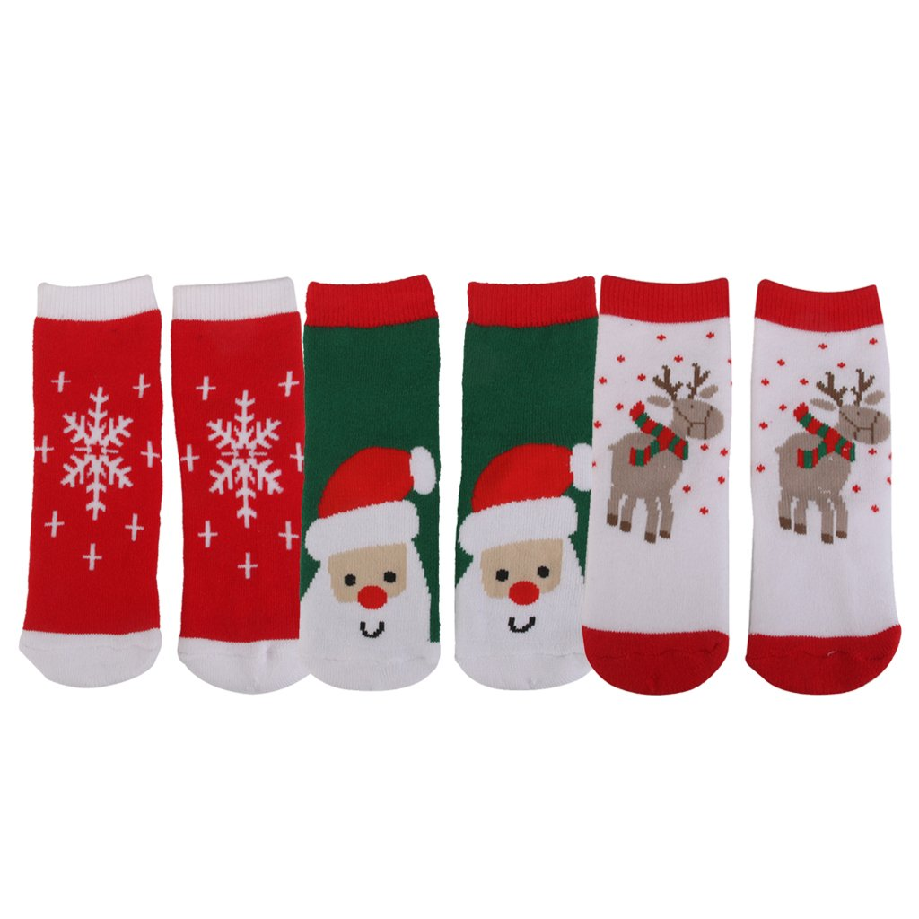 MagiDeal 3 Pairs Kids Toddler Christmas Slipper Socks Xmas Stocking Cotton Hosiery AXSSD-000540
