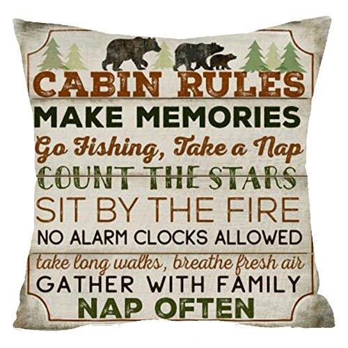 Nordic Retro Wood wild animal bear cabin rules count startree pine Cotton Linen Square Throw Waist Pillow Case Decorative Cushion Cover Pillowcase Sofa 18x 18 (18x18, 4)
