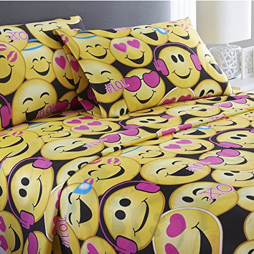 Full Black Emoji 3 Piece Sheet Set