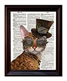 Dictionary Art Print - Steampunk Clockwork Kitty Cat - Printed on Recycled Vintage Dictionary Paper - 8''x11'' - Mixed Media Poster on Vintage Dictionary Page