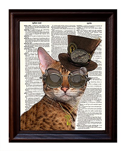 Dictionary Art Print - Steampunk Clockwork Kitty Cat - Printed on Recycled Vintage Dictionary Paper - 8