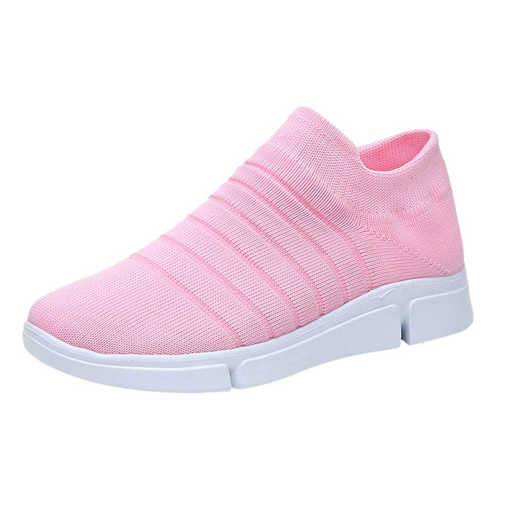 TIFENNY Women's Soft Buttom Running Shoes Ladies Fashion Knit Elasticity Solid Striped Ankle Sport Sneakers Casual Shoes Pink by TIFENNY_Shoes