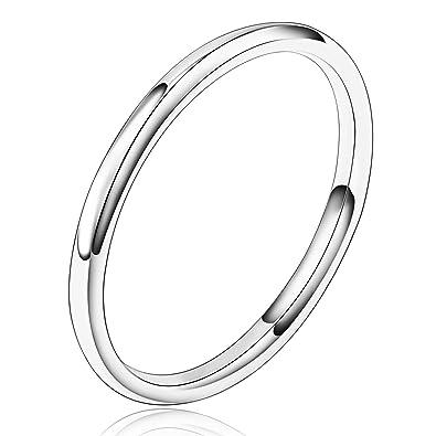 Beydodo Edelstahl Damen Ring 2mm Silber Klassisch Kreis Ring Komfort