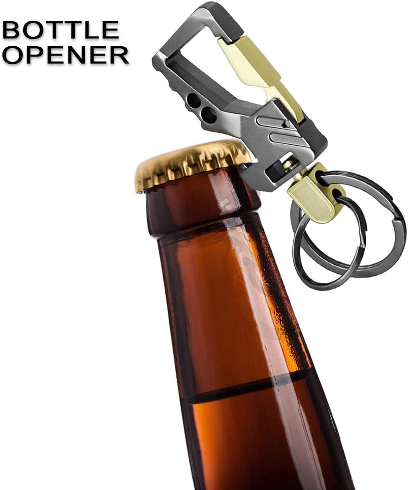 Exsun Heavy Duty Car Keychains with Bottle Opener Zinc Alloy Key Chains with 2 Key Rings Include Bottle Opener Function Car Business Keychain for Men and Women 2 Packs