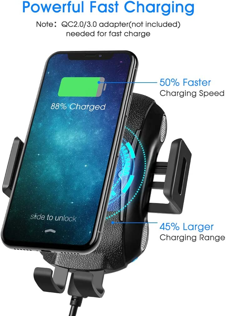 10W//7.5W Fast Wireless Charger Car Mount Gifbest Car Wireless Charger One Touch Auto Clamping Air Vent Phone Holder Compatible for iPhone Samsung Galaxy and Other QI Enabled Cellphones