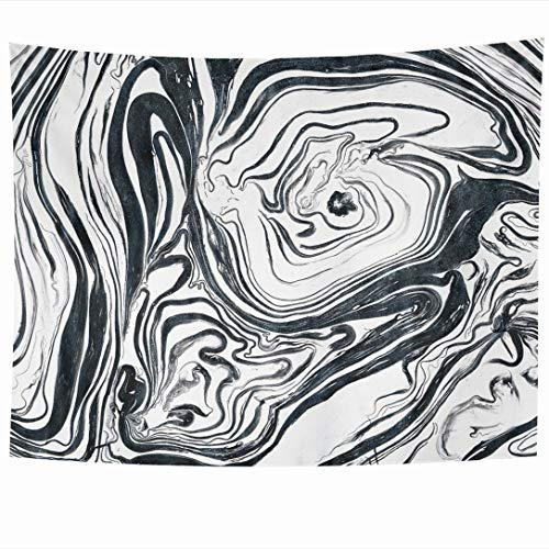 Ahawoso Tapestry Oil Watercolor White Black Silver Marble Ink Paint