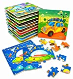 "Vileafy Kids Jigsaw Puzzles Party Favors Toys for Boys & Girls, Wooden Puzzles, 12-Pack with Individual Storage Tray & Organza Bag, 5 3/4"" x 5 3/4"" Per Pack"