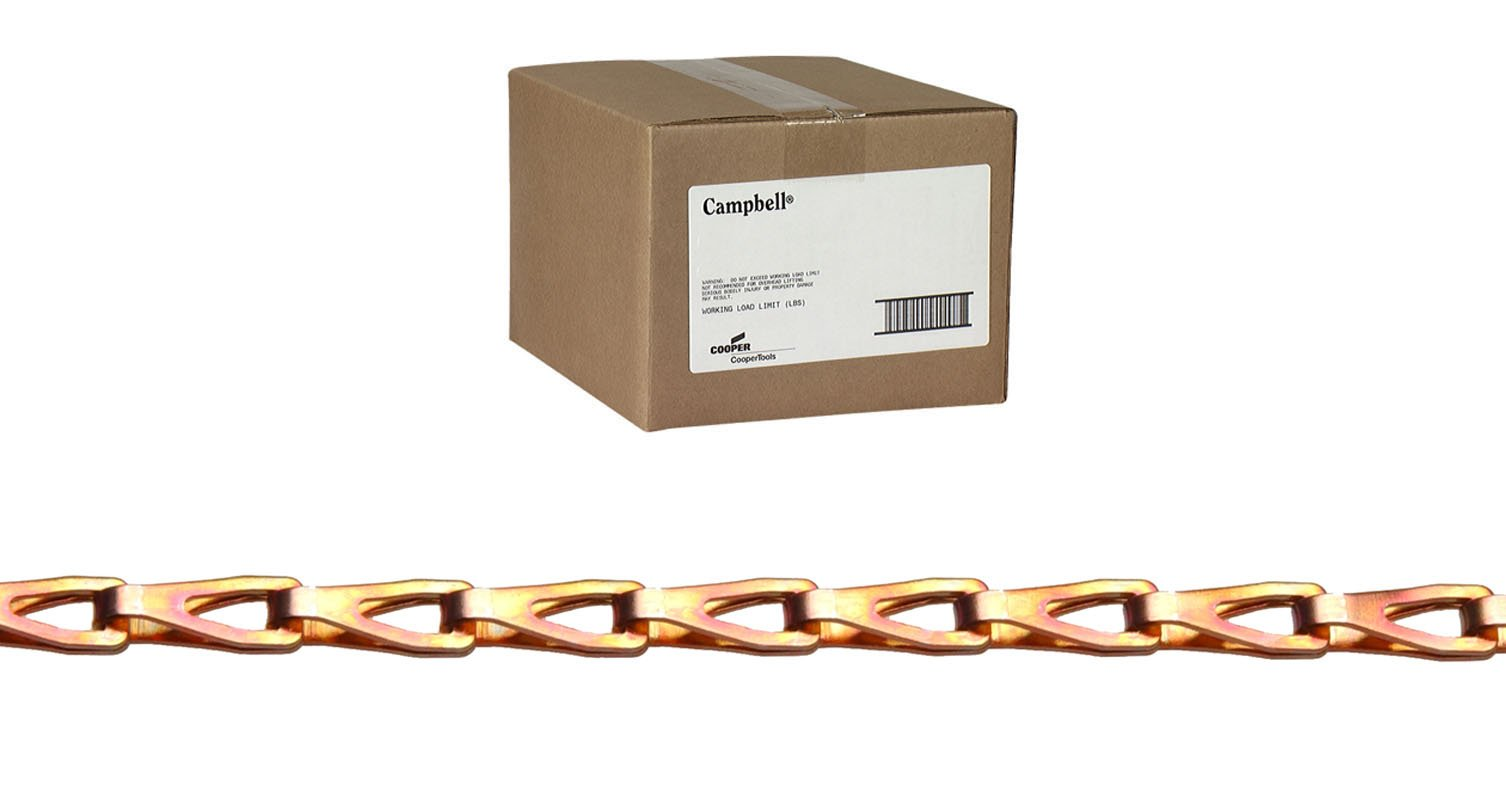 COOPER HAND TOOLS NICHOLSON 0880844 CARBON STEEL SASH CHAIN#8 - COPPER GLO LIFTING FINISH
