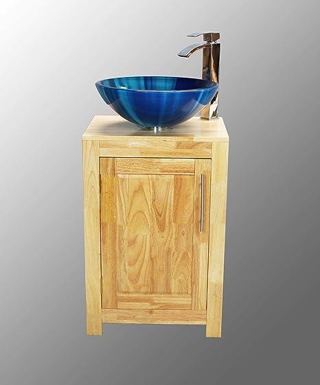Salle de bain Lavabo Vasque mixte Bleu en verre bassin évier ...