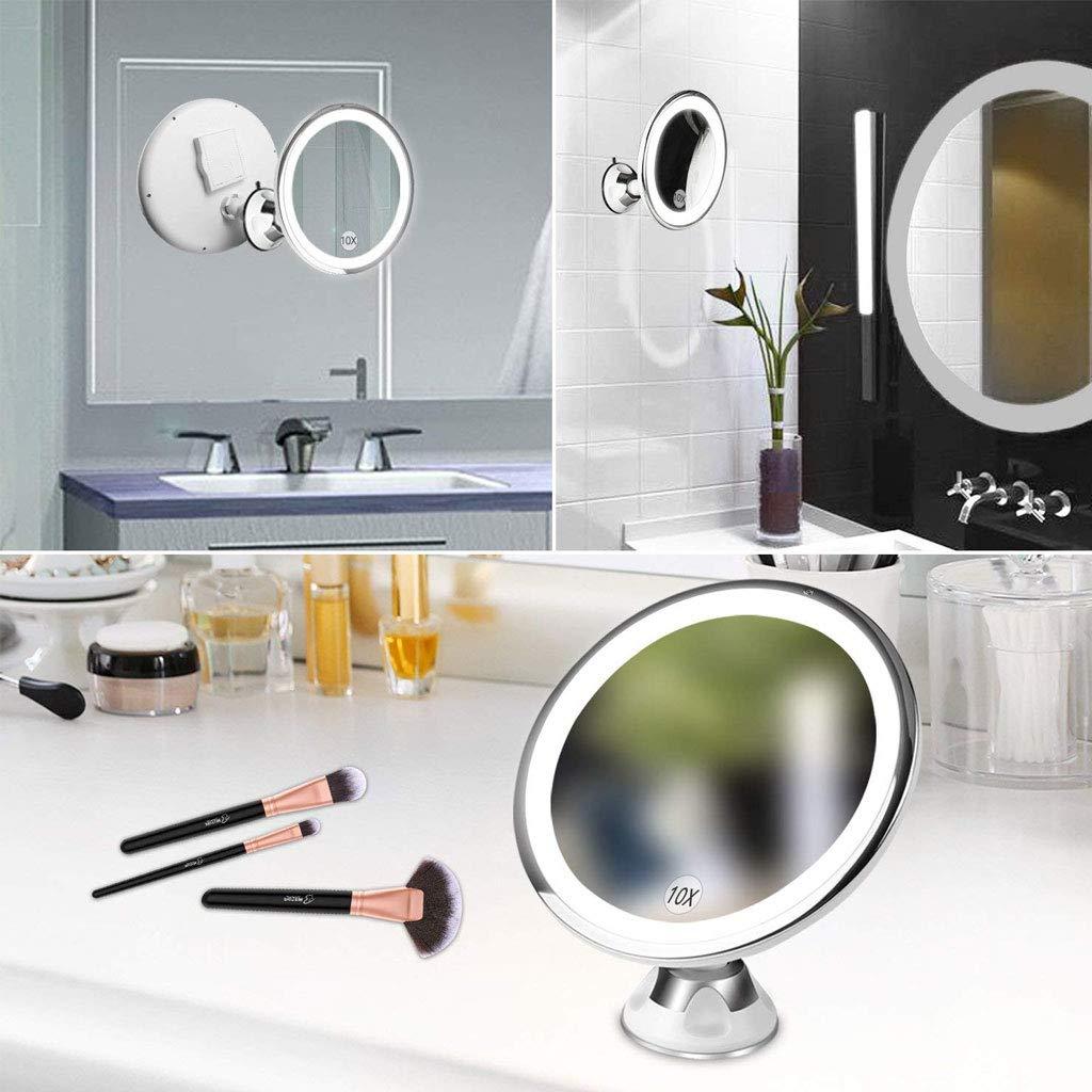 RHSMP Miroir De Maquillage /Éclair/é avec Miroir Grossissant 10X LED Miroir De Vanit/é /Éclair/é avec Ventouse Verrouillable Miroir Compact sans Fil Portable /À Piles De 360 Degr/és pour La Maison