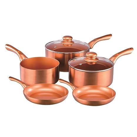 Cermalon 7pc cobre cerámica 100% antiadherente cazo – Juego de 20 cm y 24 cm