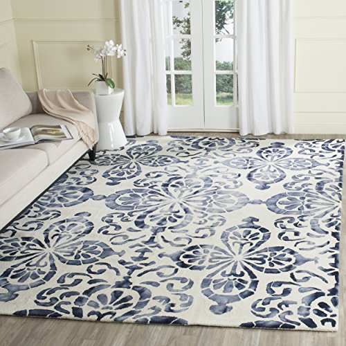Safavieh Dip Dye Collection DDY719P Handmade Geometric Medallion Watercolor Ivory and Navy Wool Square Area Rug (7' - Rug Square Off White