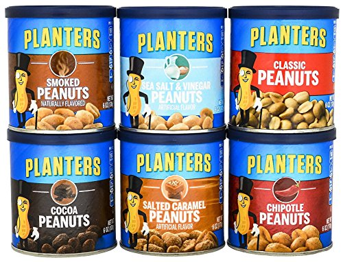Planters Peanuts (Planter's Peanuts Variety - Includes one 6 ounce can of each flavor Classic, Chipotle, Salt & Vinegar, Smoked, Salted Caramel, & Cocoa)