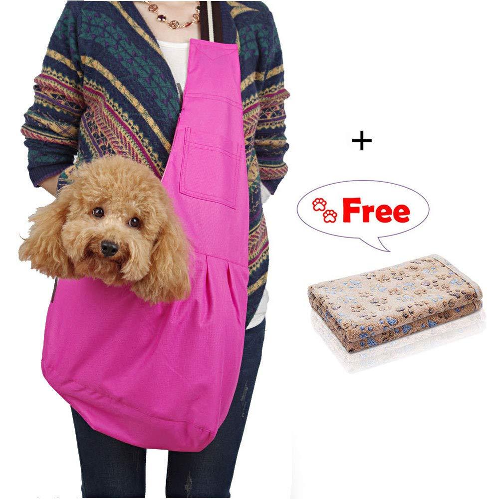 Pet Sling Carrier Bag Blanket, Adjustable Strap and Pocket Single Shoulder Bag for Small Dog, Breathable Oxford Cloth Bag Puppy Outdoor - Rose Red