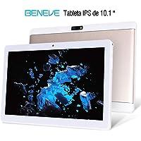 Beneve Tablet PC de 10 Pulgadas,Tab10 Inch 1280 * 800 Resolución,Android 7.0 Nougat,2GB+32GB,Dual sim 4G Panel de 10.1 HD IPS Pulgadas, Procesador MTK QuadCore WiFi PC (Oro)