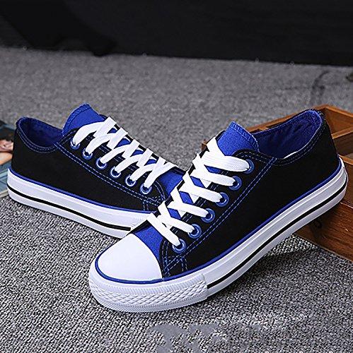 Odema Donna Uomo Stringate Scarpe Di Tela Moda Sneakers Classico Casual Stile Preppy Scarpe Basse 2-blackblue