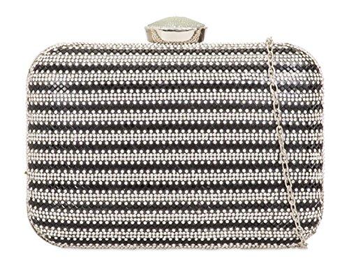 LeahWard Bag Diamante Handbags 2130 Out Evening Black Clutch Prom Night Wedding Women's FFUqwfrxA