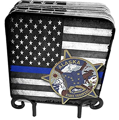 50 States Highway Patrol, State Patrol, State Police 9 Pc Hardboard Coasters with Metal Stand