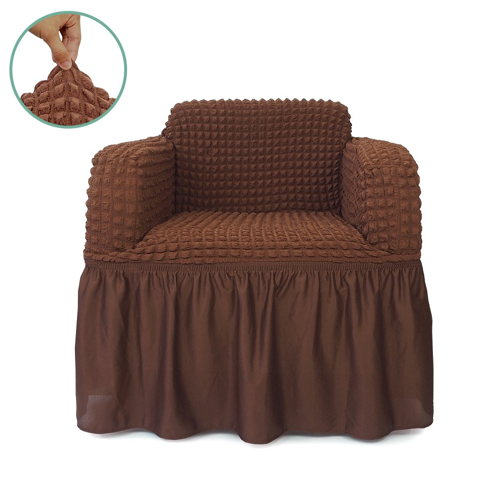 STARS 1-Piece Stretchable Easy Fit Sofa Cover Durable Furniture Slipcover in Country Style Made of Machine Washable and Quick-Drying Fabric for 1-seat armchair(Chair,Chocolate Brown) by