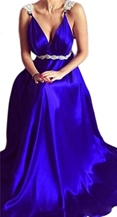 Veilace Womens Royal Blue Evening Gowns V Neck Spaghetti Straps A Line Chiffon Backless Prom Dress