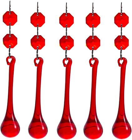 10pcs Red Crystal Glass Chandelier Parts Glass Beads Lamp Prisms Pendants 55mm