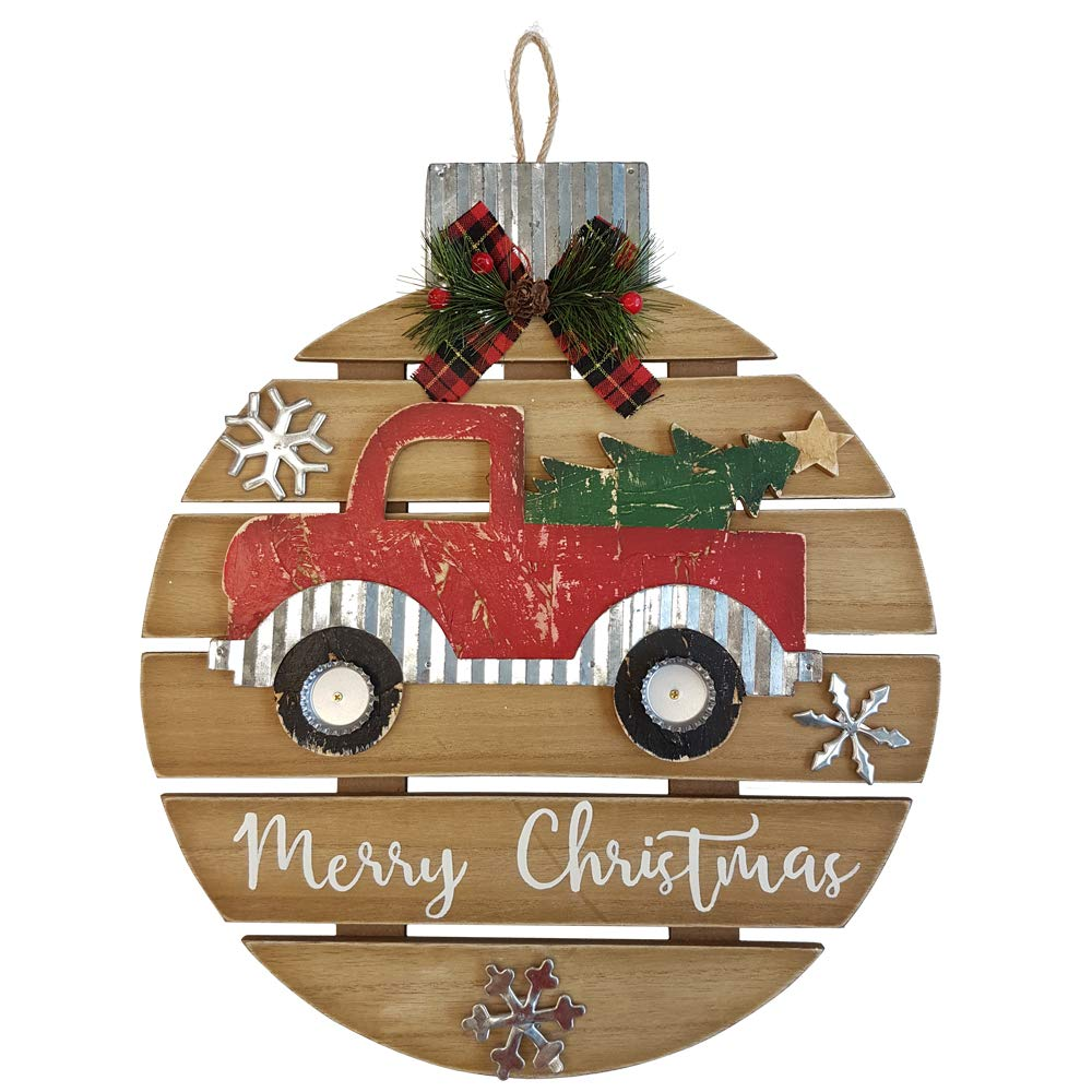 Anrod Indoor Outdoor Hanging 16 Holiday Rustic Wood Ornament Shaped Premium Christmas Wall Door Hanging Decor Truck With Tree Ornaments Wall Decor Amazon In Home Kitchen