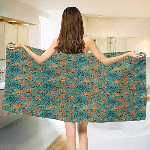 Chaneyhouse Vintage,Baby Bath Towel,Nature Scroll Art Pattern with Birds Flowers Teapot and Cups,Print Wrap Towels,Turquoise Pale Caramel Dark Brown Size: W 10