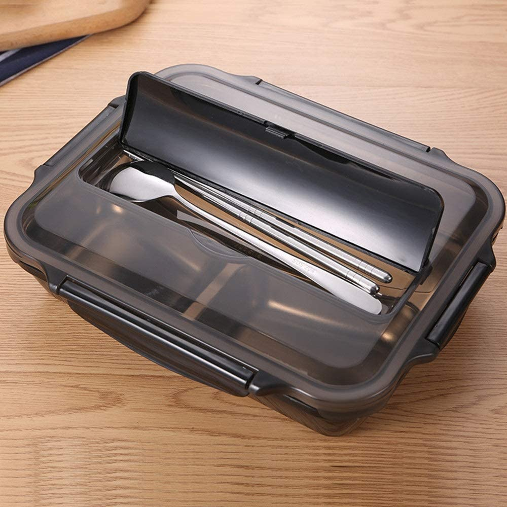 Bento Box 304 Stainless Steel Insulated Lunch Box Student Adult Lunch Box Fast Food Box Separation Plate With Compartment Lunch Box (Color : Black, Size : 5 grids)