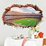2018 World Cup Series Soccer 4D Removable Wall Decal for Living Room, Bar, Restaurant, Kids, Background Decoration (Football Field)