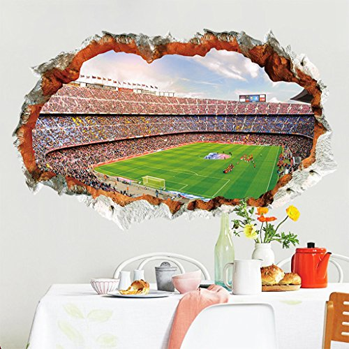 2018 World Cup Series Soccer 4D Removable Wall Decal for Living Room, Bar, Restaurant, Kids, Background Decoration (Football Field) by Dofel