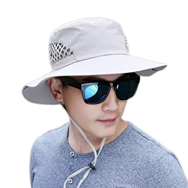 3d9cf73d3af JUNGEN Men s Bucket Hats Sun Hat Neck Flap Cover for Cycling Hiking Outdoor  Camping (Beige