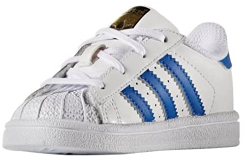 adidas Superstar I Scarpe Sportive Bambino Bianche Azzure Pelle TG.25.5