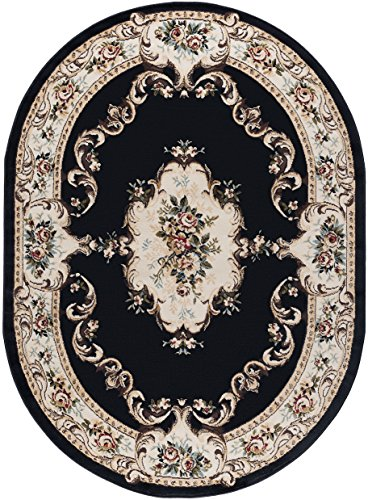 Angeline Traditional Floral Black Oval Area Rug, 5' x 7' (Black Oval Rug)