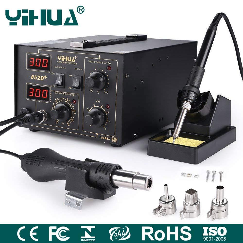 Mbuynow 700W 852D Estación de Soldadora de aire Caliente , 2 en 1 Con Pantalla LCD Control de Temperatura Electrónica, 650W Pistola de Calor 100 ~ ...