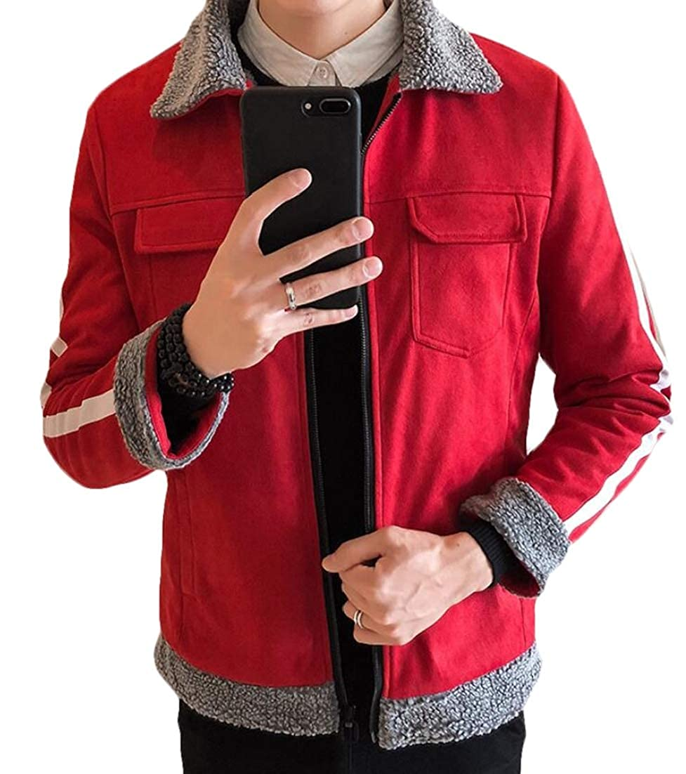X-Future Mens Warm Faux Suede Zip-Up Quilted Pockets Outdoor Jacket Coat