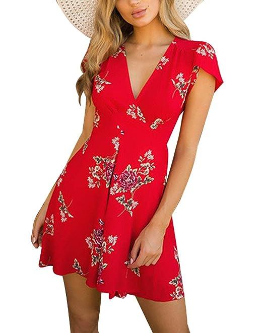 Minetom Mujer Verano Elegante Imprimir Floral Vestido Corto de Fiesta Manga Corto Vestido de Mujer Rojo