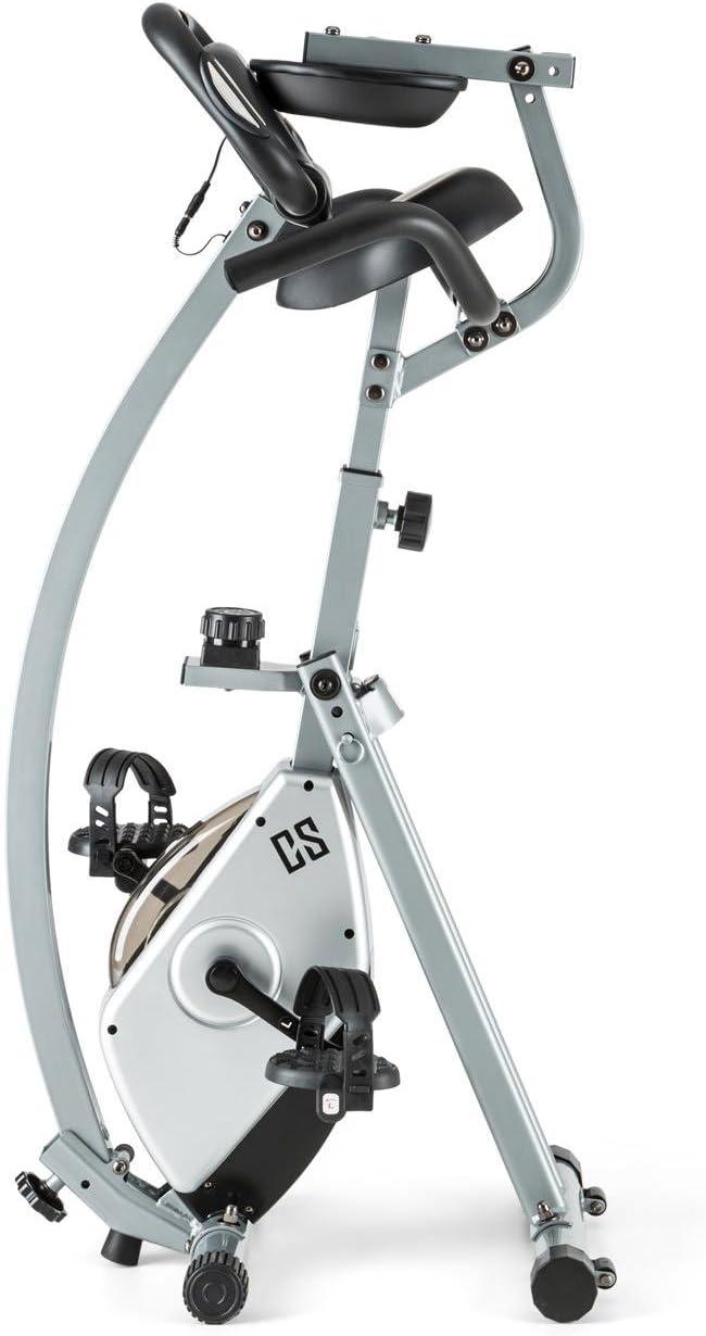 CapitalSports Trajector Bicicleta estática Plegable (Dispositivo de Entrenamiento con 3Kg de Masa giratoria, sillín Extra Ancho, 8 Niveles de Resistencia, Monitor) - Plateado: Amazon.es: Deportes y aire libre